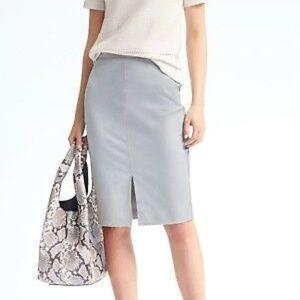 Banana Republic Light Gray Midi Pencil Skirt